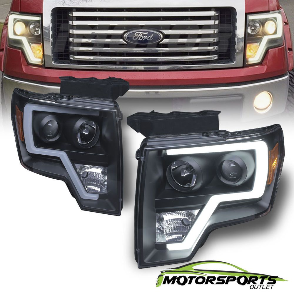 Fit 2009 2014 Ford F150 Polished Black Sequential Drl Projector Headlights Pair Ebay Ford F150 F150 Ford F150 Accessories