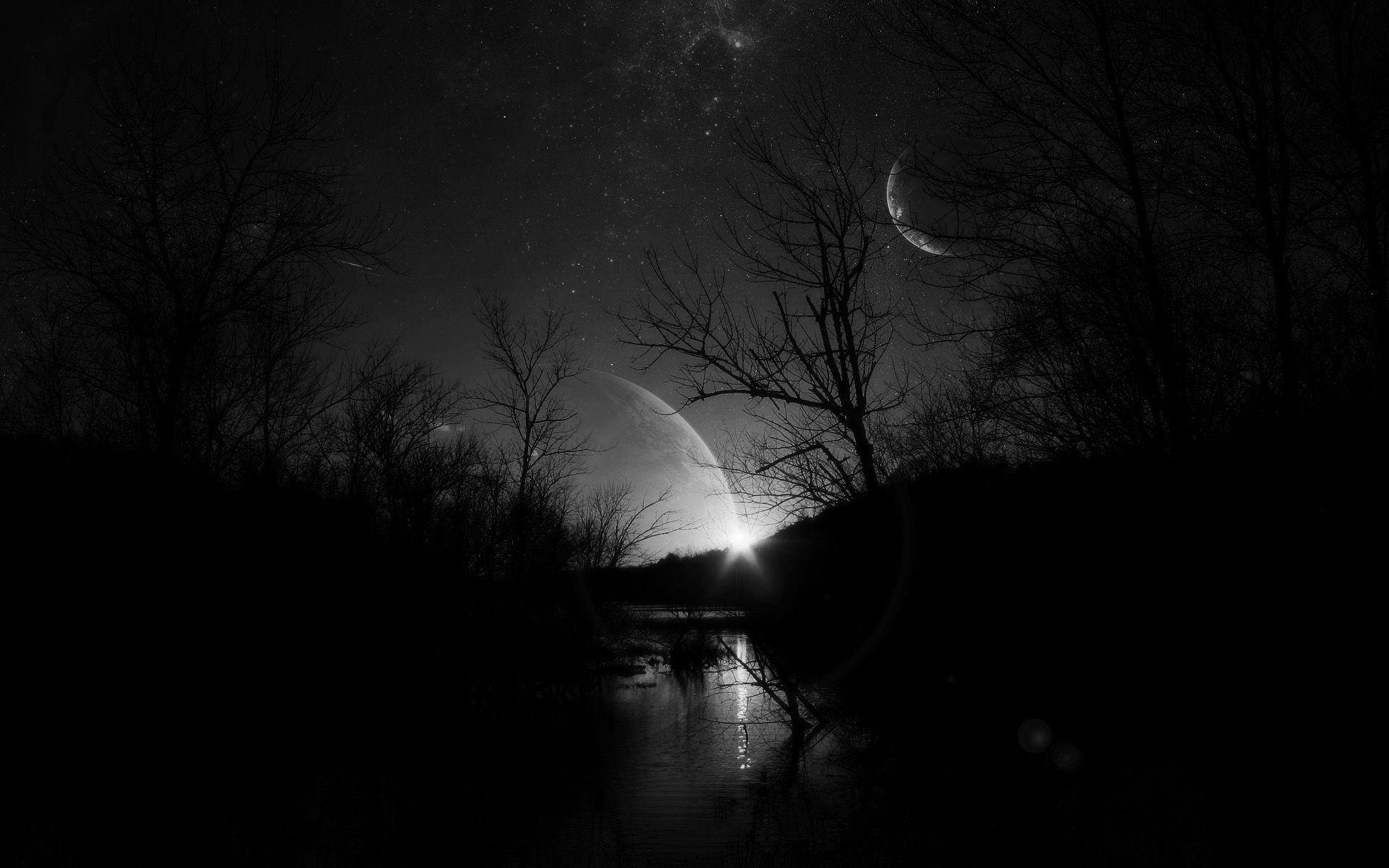 Night River Planet Moon Moons Alien Fantasy Science Fiction World Wallpaper Dark Desktop Backgrounds Hd Dark Wallpapers Dark Background Wallpaper