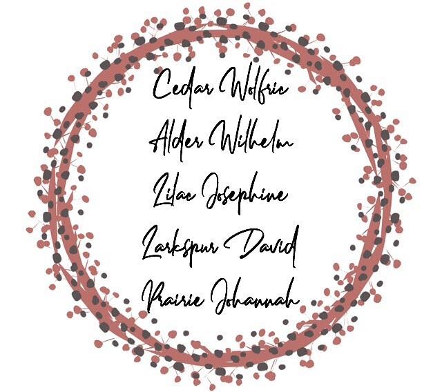 Cedar Wolfrick, Alder Wilhelm, Lilac Josephine, Larkspur ...