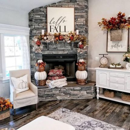 32 Essential Things For Rustic Home Decor Living Room Farmhouse Style Joanna Gaines 20 Myhomestyleguide Com Fireplace Mantle Decor Fall Mantle Decor Fall Home Decor