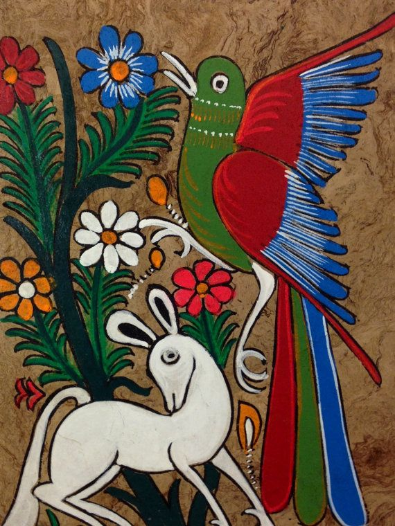 0e135e347bd37 Mexican Amate Bark Painting by MISCRoot | Folk Art | Mexican ...