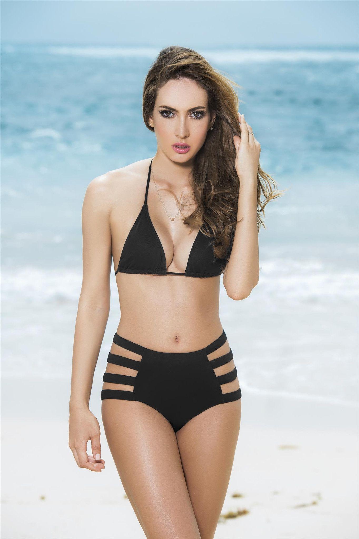 3d3580361a Mapale Swim Black Bikini, Strappy High Waist Brazilian Cut Bottom – SoHot  Swimwear
