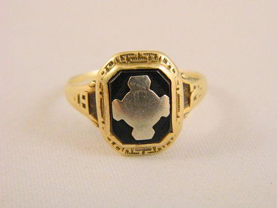 Vintage 14k Yellow & White Gold Ring / 1924 Onyx Class ...