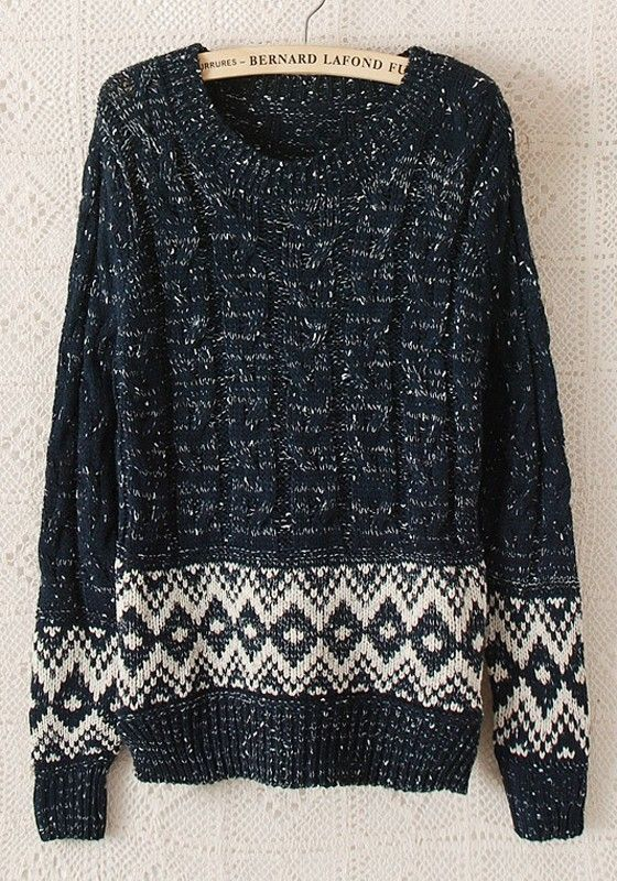 Navy Blue Geometric Long Sleeve Synthetic Fiber Sweater