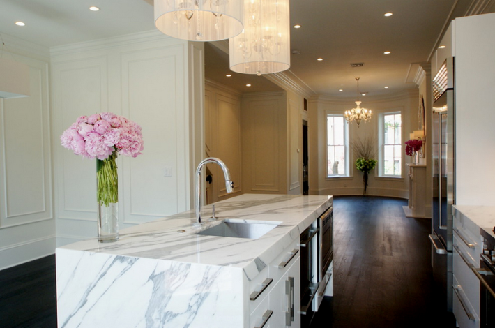 White Marble Kitchen Countertops  Island Slabs Mitered And Wrapped Around  Cabinets  Miami Circle Marble