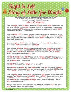 photograph about Christmas Left Right Game Printable titled Remaining specifically xmas tale humorous