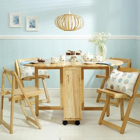 Room Rubberwood Butterfly Table With 4 Chairs