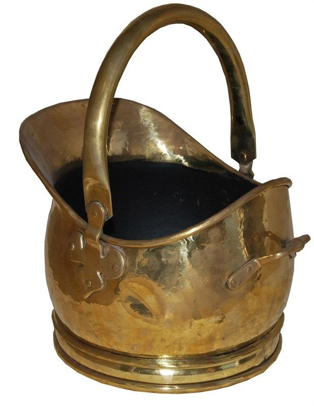 Coal Hod Traditional Round Fire Side Helmet Coal Scuttle Pewter Finish