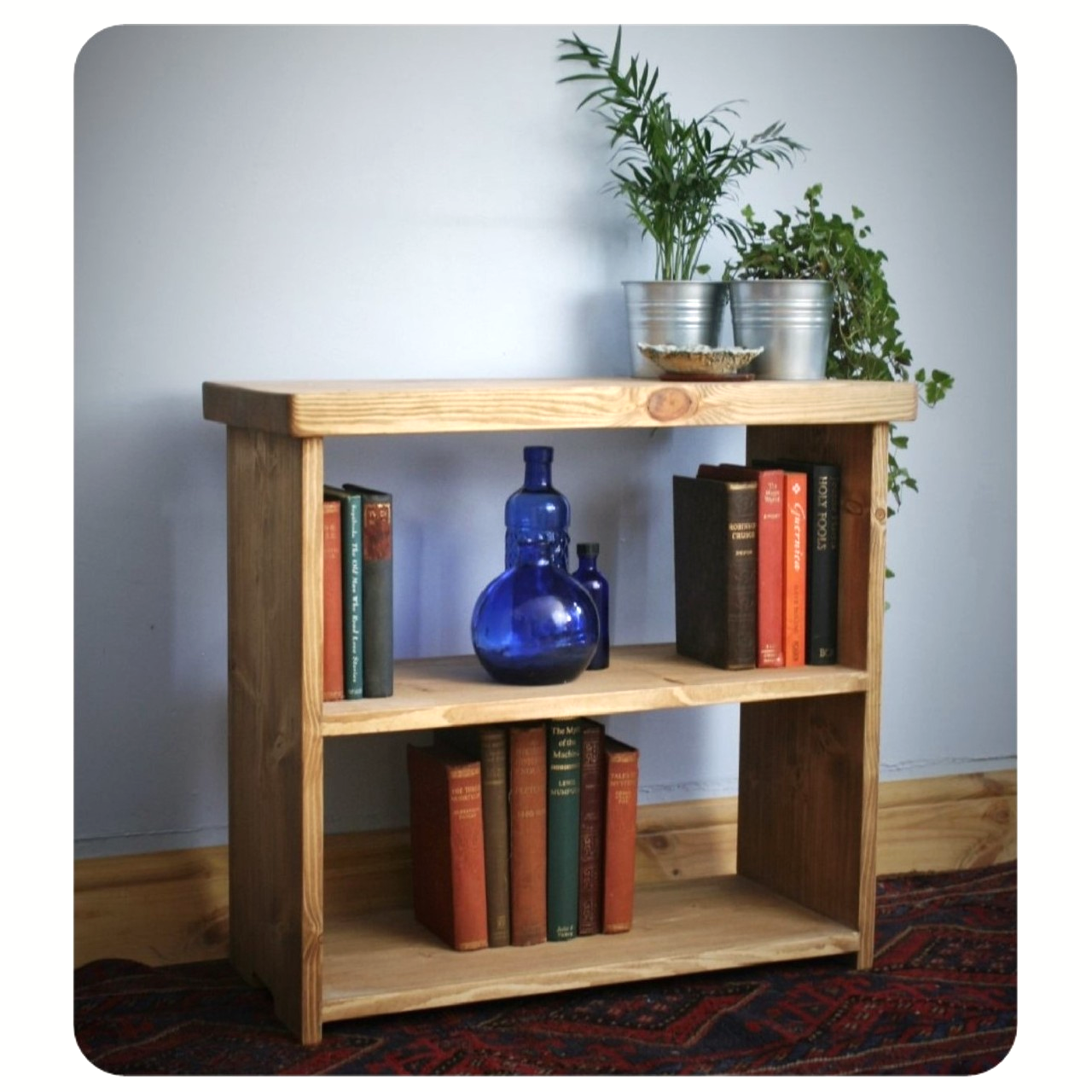 Low Wooden Bookshelf Small Bookcase Shelves 65w X 60h X 29d Cm In