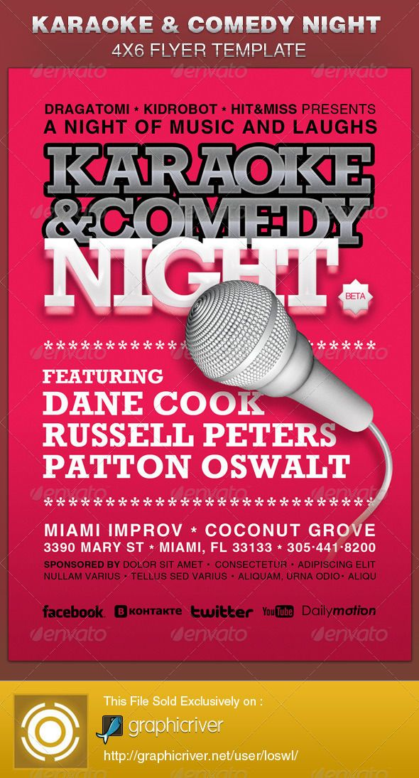 this karaoke and comedy night 4 6 flyer template is great for any