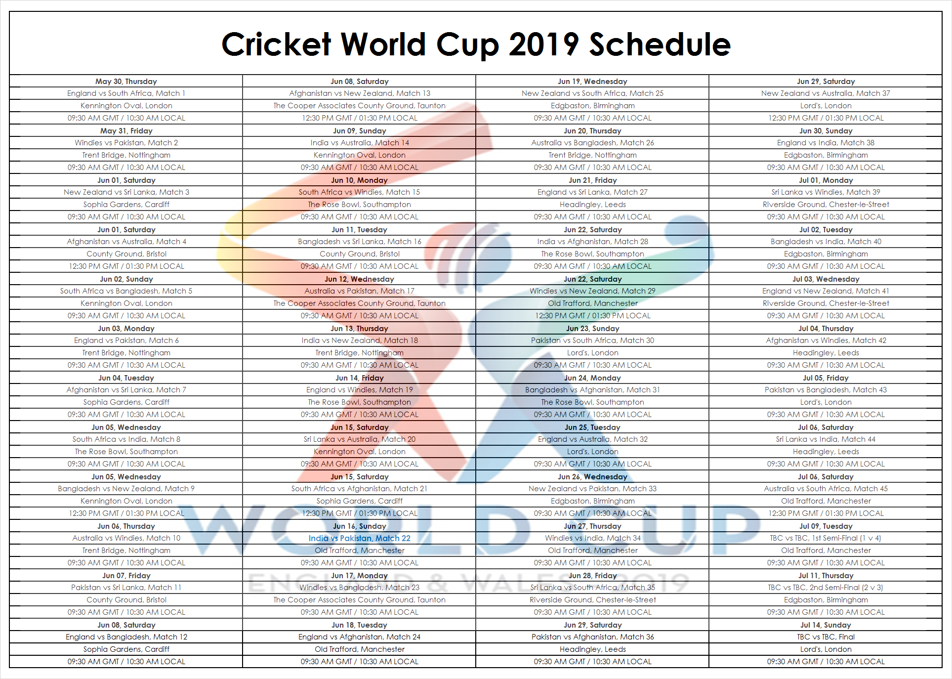 world cup 2019 knockout fixtures