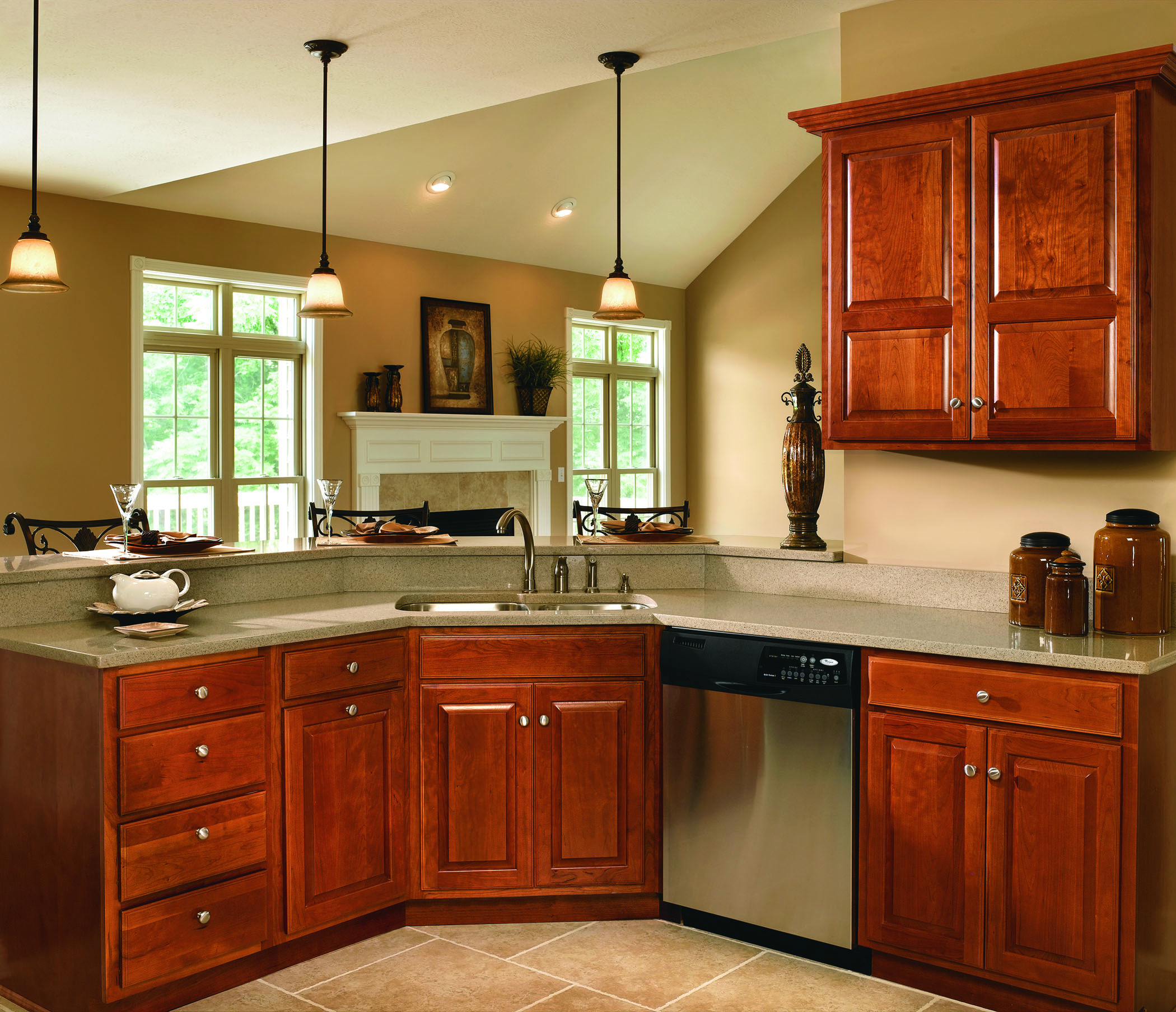 Haas Cabinet Co Federal Square Door Style Partial Overlay Wood Species Cherry Finish Spice Kitchen Cabinets Cherry Wood Cabinets Cherry Cabinets Kitchen