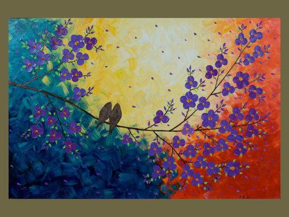 """36x24 Original Modern Texture Impasto Palette Knife Painting Landscape Flower Tree Wall Decor """"Love Birds and Cherry Blossom"""" by QIQIGALLERY"""