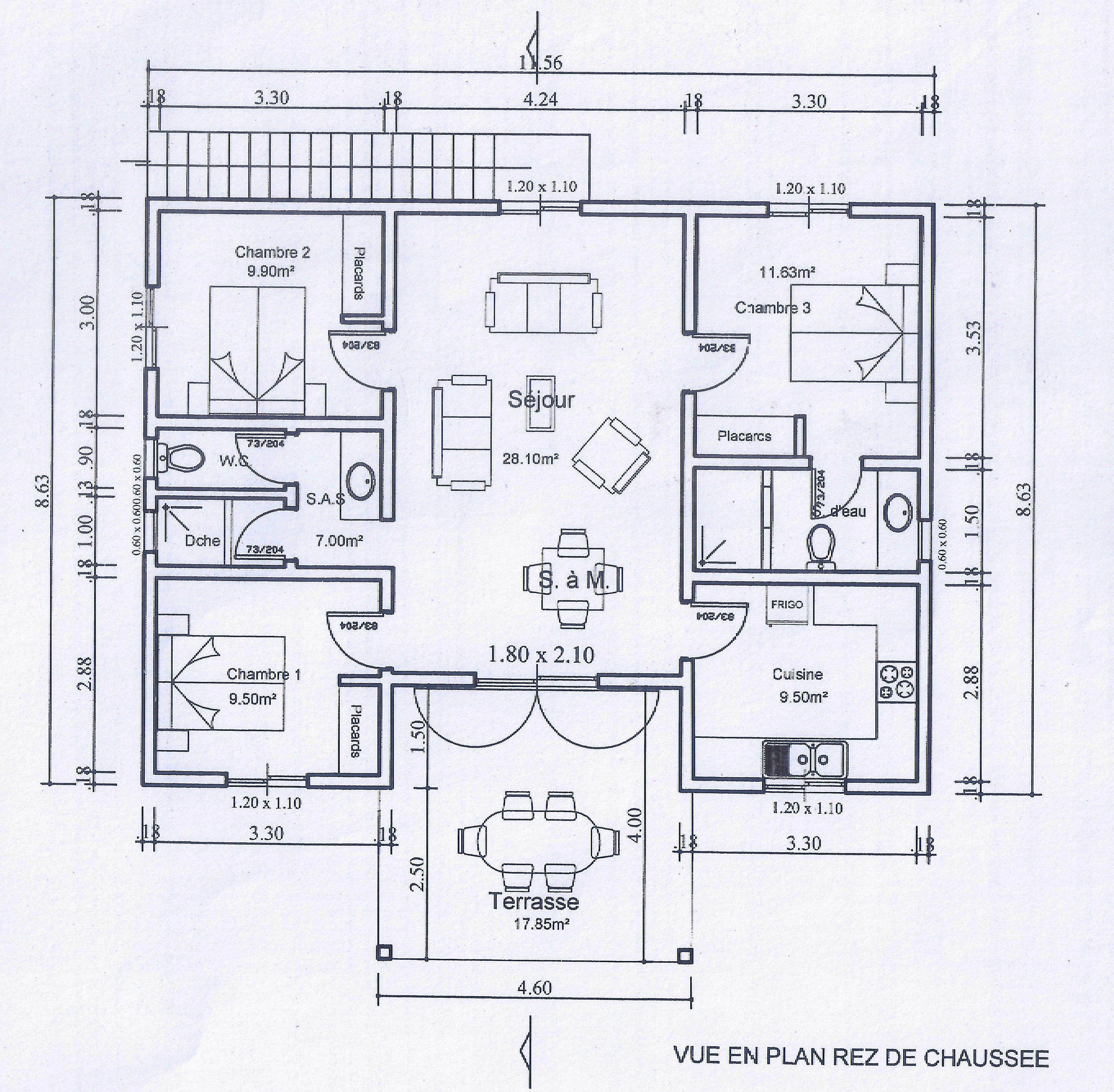 plan maison senegal  Free house plans, House plans, Floor plans