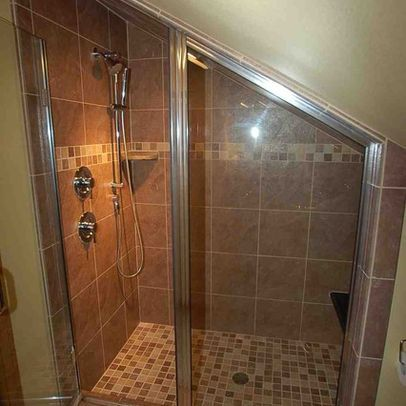 shower in bathroom with sloped ceiling | Boise Home sloped ceiling Design Ideas, Pictures, Remodel and Decor