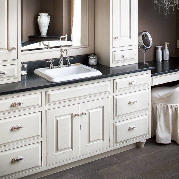 Furniture Extraordinary White Bathroom Vanity Black Granite Top With Semi Recessed Rectangular Basin And Polished Nickel Faucets Between Linen Storage Tower