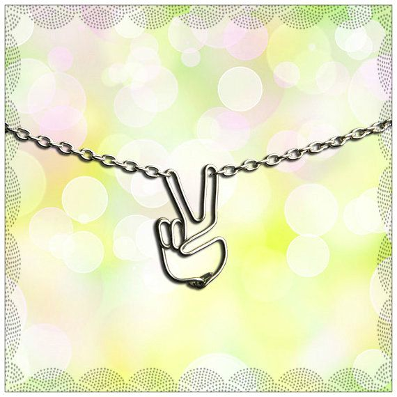 ON SALE - Peace Sign Hand Necklace - Silver Hippie Language Jewelry