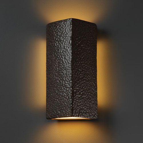 Justice design group ambiance hammered iron peaked rectangle two light bathroom wall sconce on sale