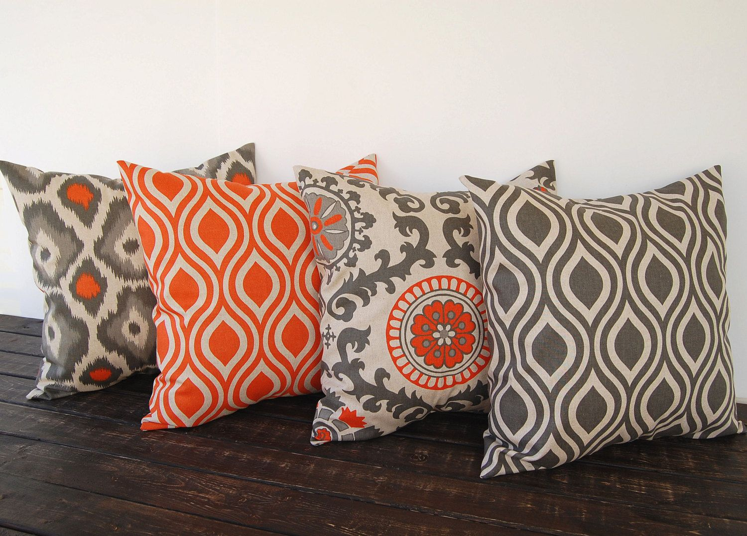 Best Throw Pillow Covers 20 X 20 Set Of Four Orange Gray Beige 400 x 300