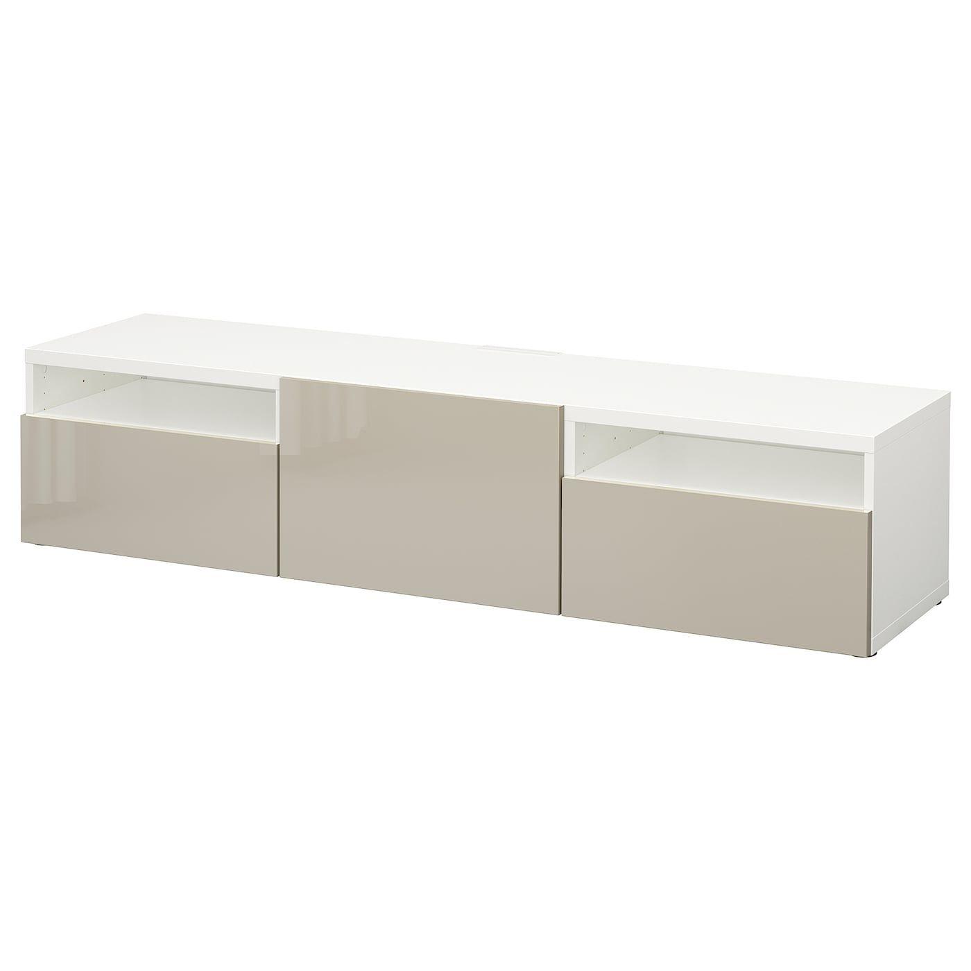 Ikea Besta Tv Unit White Selsviken High Gloss Beige In 2020 Tv Bench Tv Unit Ikea
