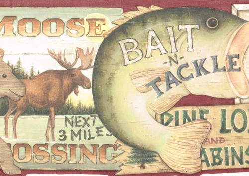 SIGNS HUNTING FISHING BEAR, MOOSE COUNTRY Wine Edges