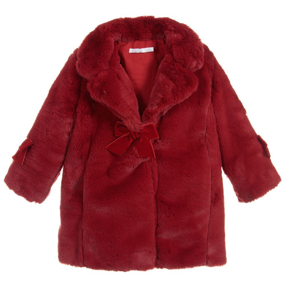 e00425d2d Girls Red Fur Coat for Girl by Patachou. Discover more beautiful ...