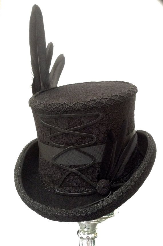 Black Lace Brocade Top Hat With Leather Corset Front With Button And Feather Side Feathers Finished With Silk R Black Lace Tops Feather Aesthetic Gothic Tops