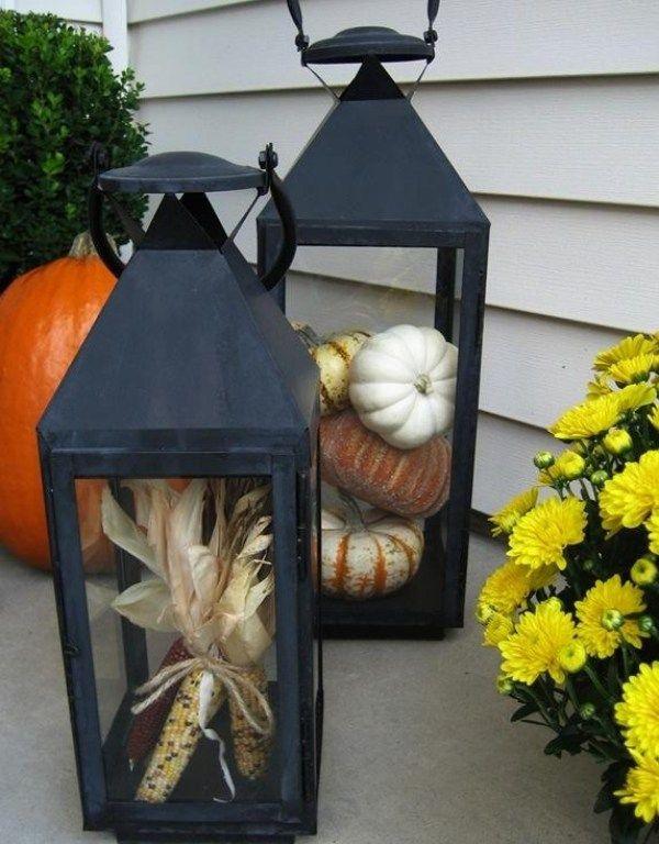 2er set laterne metall windlicht herbst deko maiskolben for Laterne dekorieren herbst