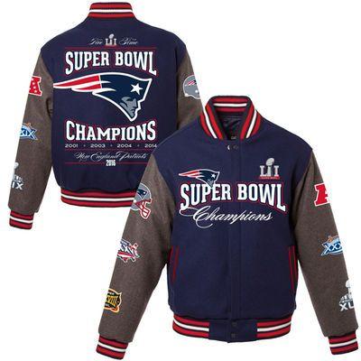 Men S New England Patriots Jh Design Navy 5 Time Super Bowl Champions Reversible Wool Jacket Football Jackets Sweatshirts Hoodie Tom Brady News