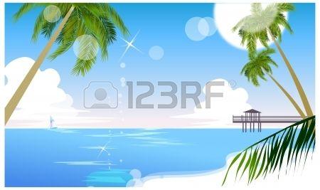 Diese Abbildung ist eine gemeinsame Stadtbild. Idyllischen Strand mit Palmen