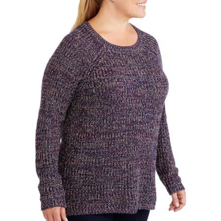 Faded Glory Womens Plus Size Knitted Marled Pullover Sweater