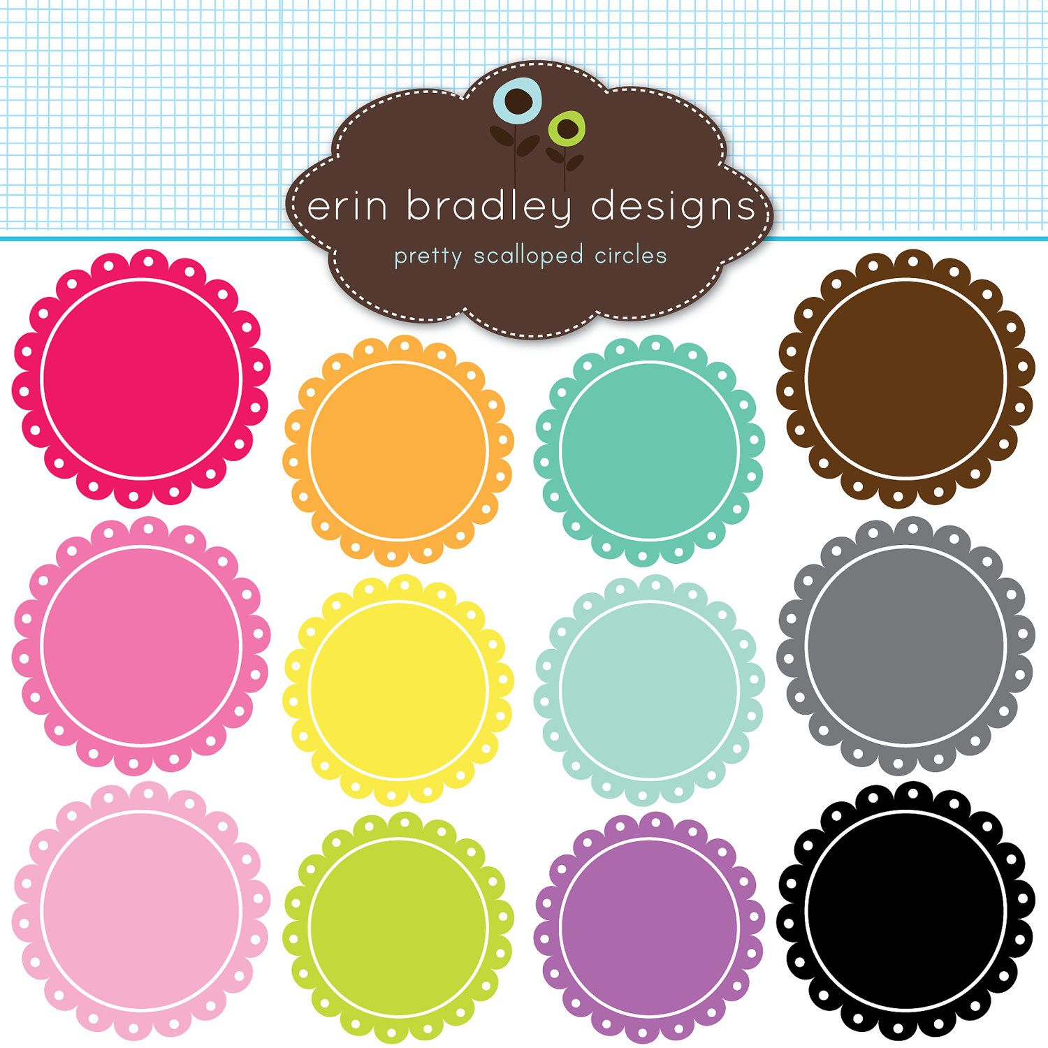 scalloped frames clipart clip art personal commercial use digital rh pinterest com