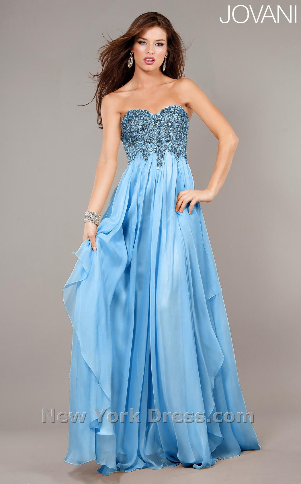 Empire waist strapless chiffon gown features beaded top bodice ...