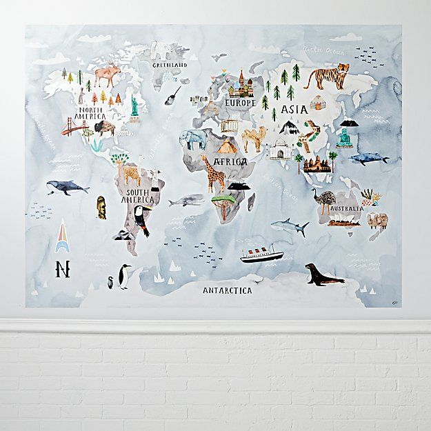 Watercolor World Map Mural Decal Watercolor, Nursery and Playrooms - fresh world map outline decal