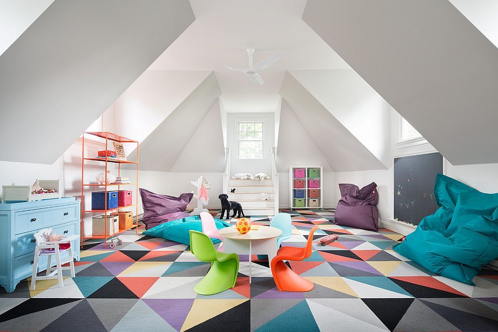 Colorful Zest 25 Eye Catching Rug Ideas For Kids Rooms Playroom Furniture Playroom Design Attic Playroom Decorate kids playroom floor with