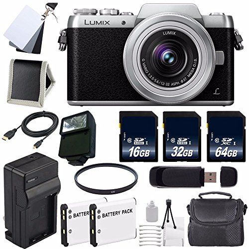 Panasonic Lumix DMC-GF7 Mirrorless Micro Four Thirds Digital Camera with 12-32mm f/3.5-5.6 ASPH. Lens (Black) + Replacement Lithium Ion Battery + External Rapid Charger + 16GB SDHC Class 10 Memory Card + 32GB SDHC Class 10 Memory Card + 64GB SDXC Class 10 Memory Card + Carrying Case + External Flash + 37mm UV Filter + Micro HDMI Cable + SD Card USB Reader + Memory Card Wallet + 3 Piece Digital Grey Balance Cards Set + Deluxe Starter Kit Bundle – International Version (No Warranty)  h..