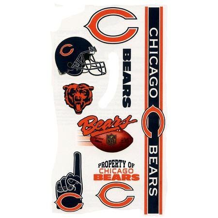 Chicago Bears Temporary Tattoos by WinCraft. $2.25. Includes 10 tattoos. Hypo-allergenic. Easily removable. FDA regulated. Non-toxic. A 6x9 sheet of officially licensed temporary tattoos. Each tattoo sheet comes with a collection of ten different temporary tattoos. Tattoos are applied with a wet cloth and easily removed with clear tape. Made in USA.. Save 50% Off!