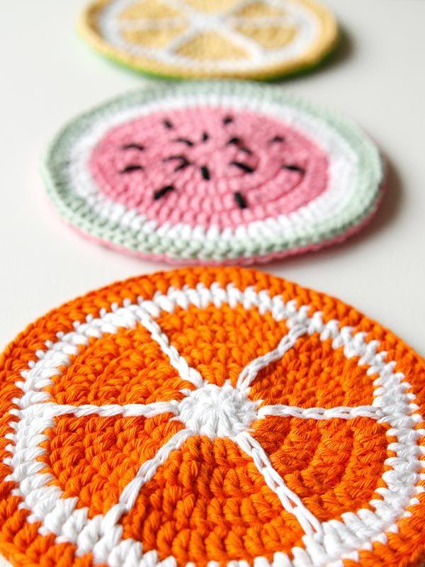 Crochet Fruit Slice Potholders   crochet   Pinterest   Adornos de ...