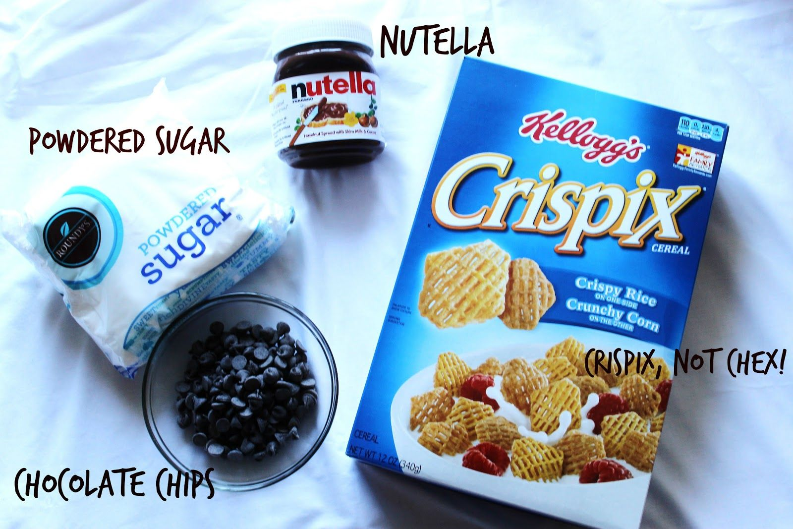 all you'll need for nutella puppy chow!