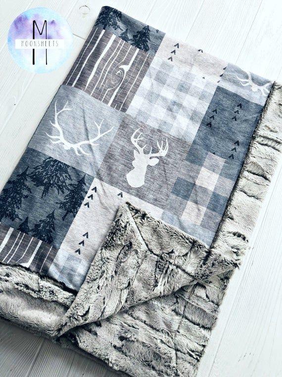 Greige Minky Baby Blanket - Lumberjack Blanket - Crib Blanket - Adult Blanket