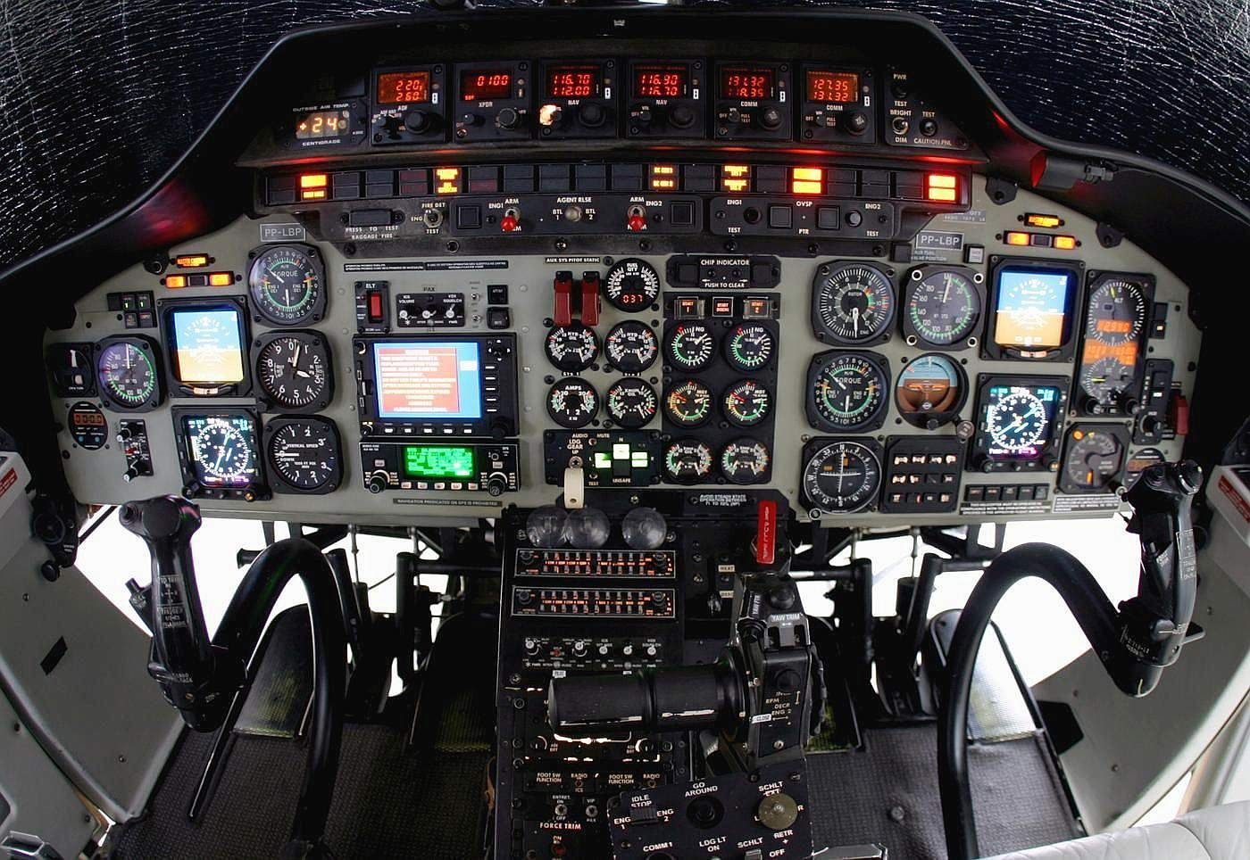 The Cockpit Of The Bell 320 Turbine Powered Helicopter Cockpit