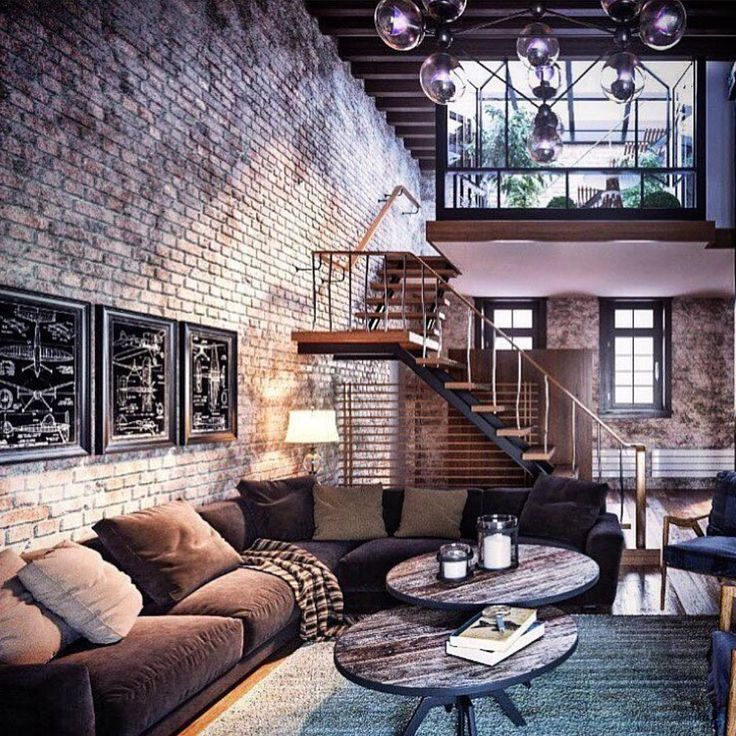 Amazing loft design with exposed brick #stylishmen