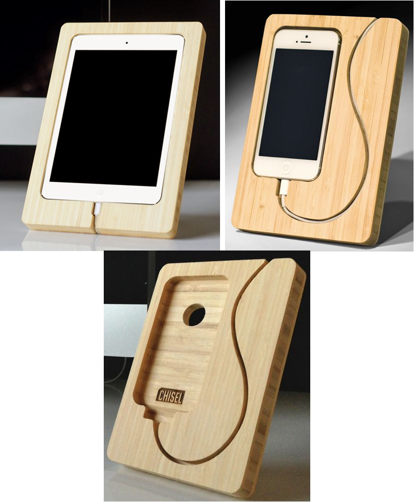 Chisel Out Some Space For An Ipad Mini Or Iphone Charging Dock Iphone Charging Dock Diy Ipad Stand Wood Ipad Stand