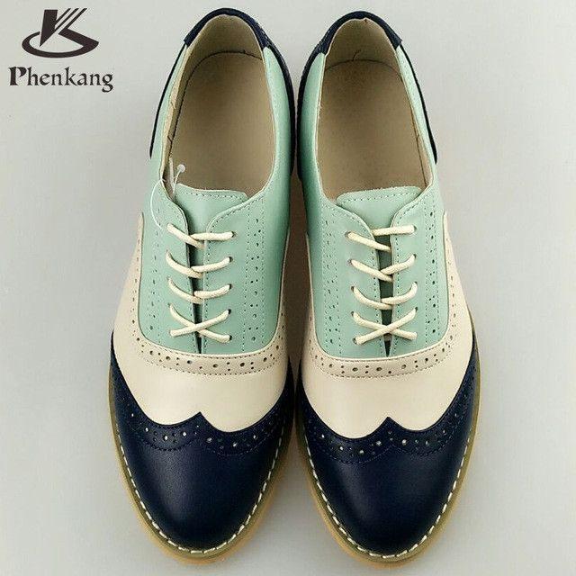 Frau Leder Echtes Große Runde Flache Schuhe Vintage Kappe bfy6g7vY