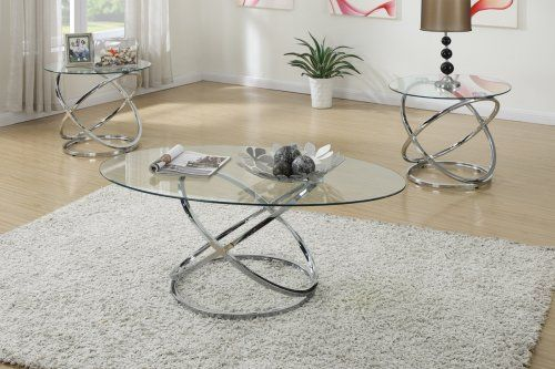 F3087 - Chrome Finish Contemporary Style 3 Piece Coffee Table + End Tables Set - Furniture2Go & F3087 - Chrome Finish Contemporary Style 3 Piece Coffee Table + End ...