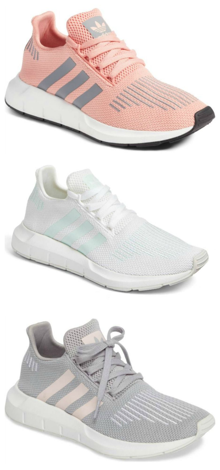 hot sale online 0eddb 51d41 Adidas Swift Run Sneakers via Nordstrom   sneaker, tennis shoe, shoes,  footwear, athletic, athlete, activewear, workout, pink, grey, cute shoes,  shopping, ...