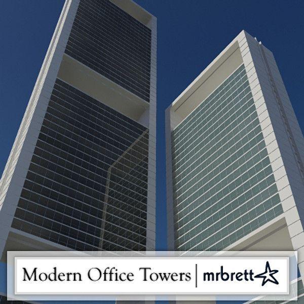 3D Modern Office Tower Complex - 3D Model 3D-Modeling Pinterest