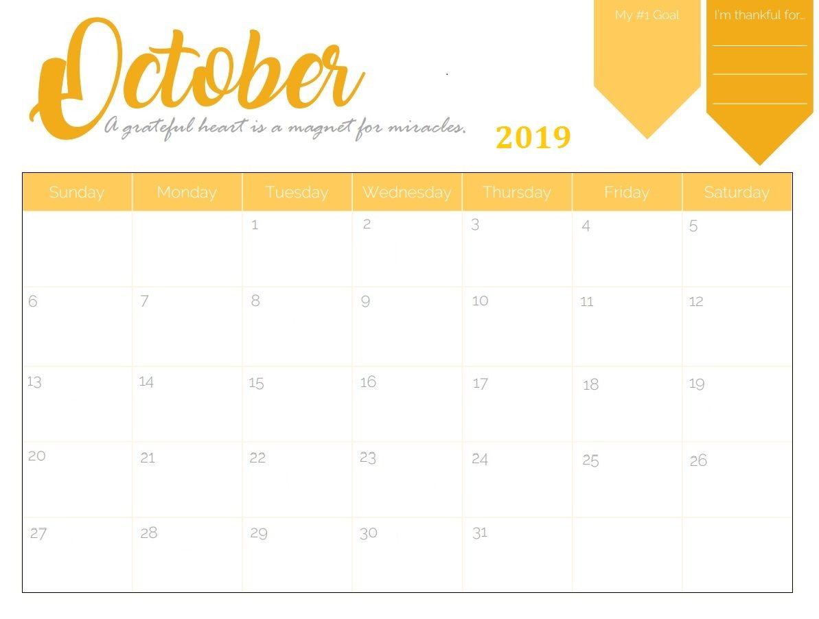 October 2019 Planner Calendar Calendar 2018 Pinterest Calendar