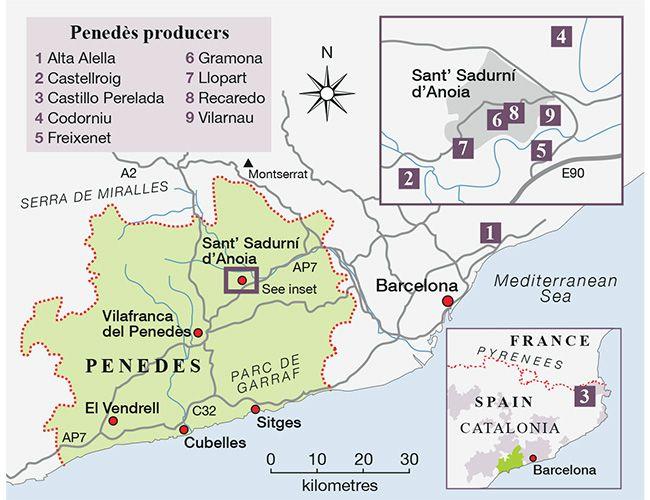 Map 9f Spain.Cava Wineries Map Barcelona In 2019 Spain Travel Spanish Wine