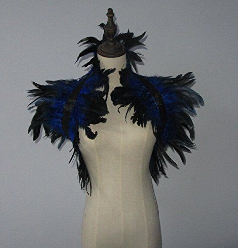 Handmade 2 Layer Royal Blue Hnadmade Feather Cape SHAWL Shrug - lowes halloween